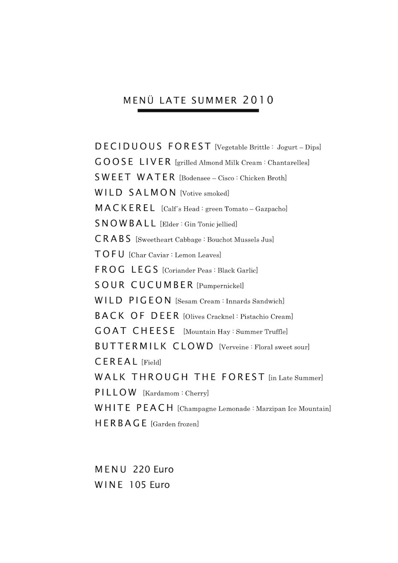 Wissler Menu Late Summer 2010